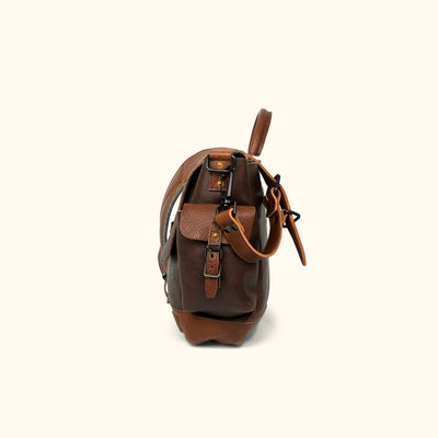 Dakota Leather Messenger Bag | Dark Hazelnut w/ Chestnut Brown