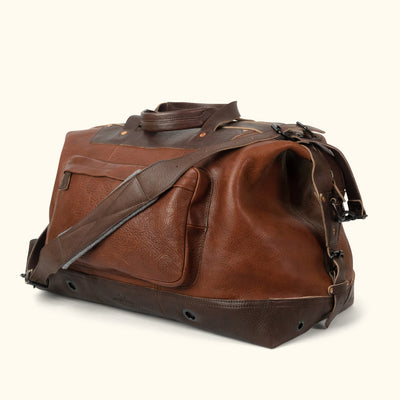 Men's Best Leather Weekend Bag Brown turned