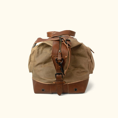 Vintage Waxed Canvas Oversized Weekend Bag Khaki side