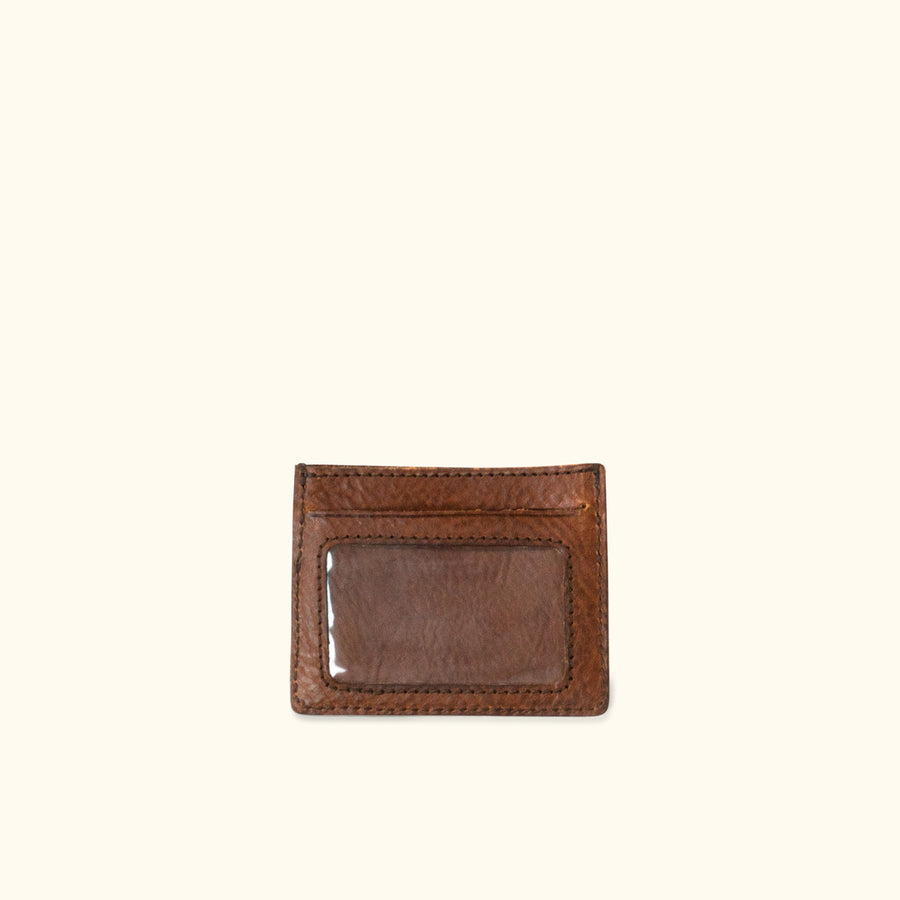 Dakota Vintage Leather Slim ID Wallet | Chestnut Brown