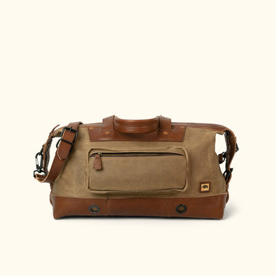 Men's Classic Waxed Canvas Weekend Bag Khaki Front