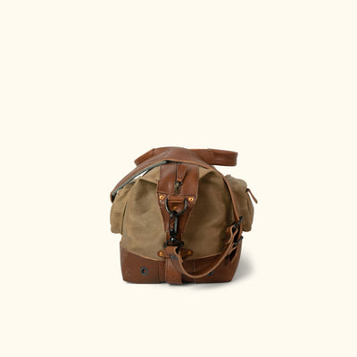 Waxed Canvas Weekend Bag Khaki side