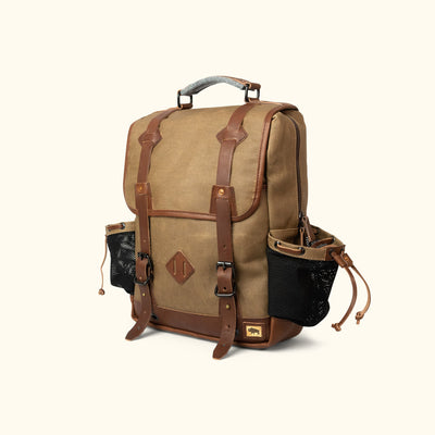 Waxed Canvas Commuter Backpack Khaki turned
