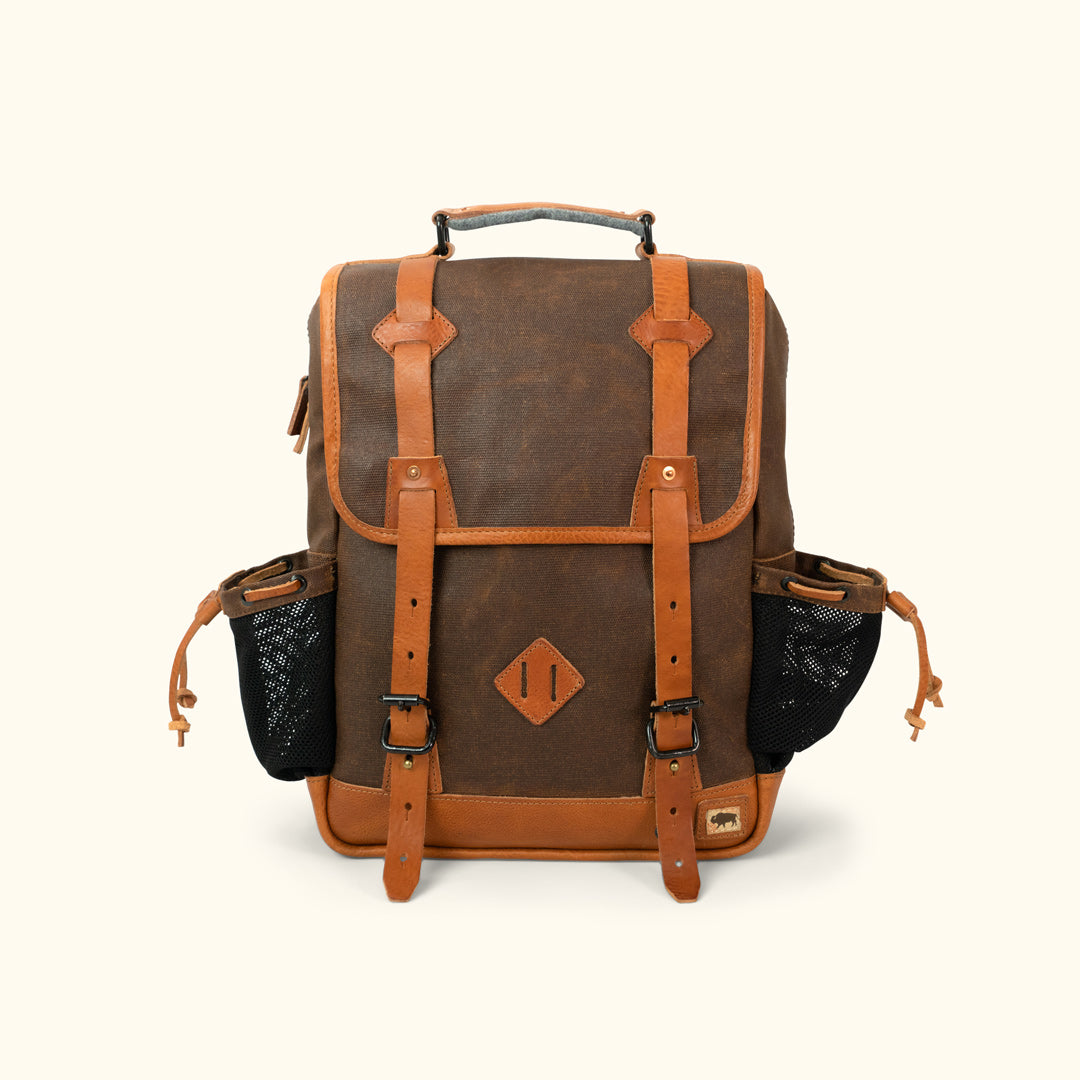 Russet Brown w  Saddle Tan Leather. Dakota Waxed Canvas Commuter Backpack 3a96958ff255b