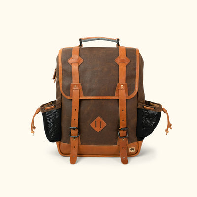 Outdoor Waxed Canvas Backpack Brown Front