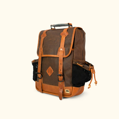 Men's Rugged Waxed Canvas Backpack Brown Turned