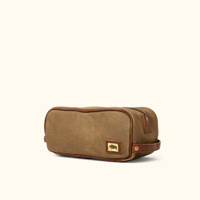 Dakota Waxed Canvas Dopp Kit Toiletry Bag | Field Khaki w/ Chestnut Brown Leather