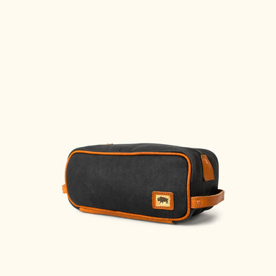 Dakota Waxed Canvas Dopp Kit Toiletry Bag | Navy Charcoal w/ Saddle Tan Leather