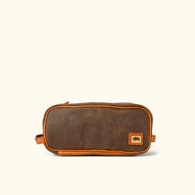 Dakota Waxed Canvas Dopp Kit Toiletry Bag | Russet Brown w/ Saddle Tan Leather
