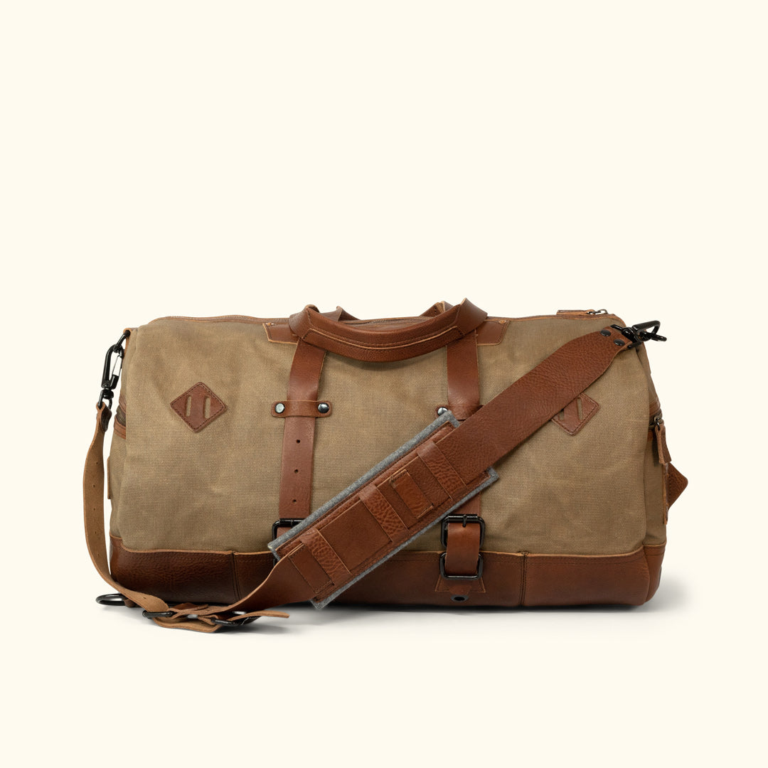 Dakota Waxed Canvas Duffle Bag Backpack   Field Khaki w  Chestnut Brown  Leather 40c50556c5