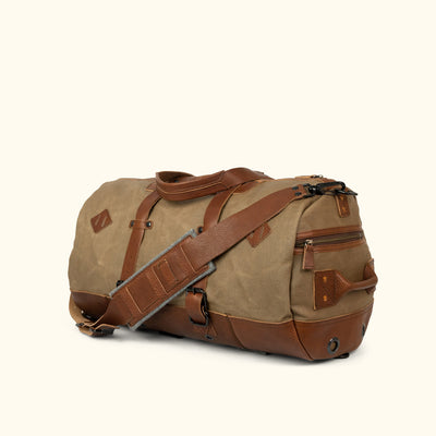 Men's Travel Waxed Canvas Duffle Bag/Backpack | Field Khaki w/ Chestnut Brown Leather