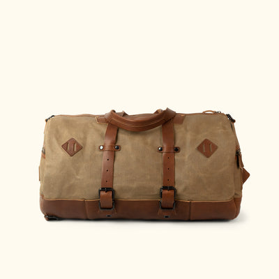 Men's Best Waxed Canvas Duffle Bag/Backpack |Khaki Front