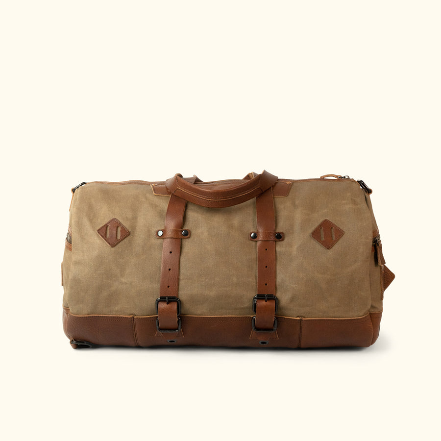 Dakota Waxed Canvas Duffle Bag/Backpack | Field Khaki w/ Chestnut Brown Leather