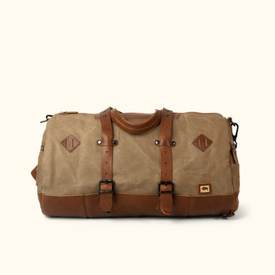 Modern Canvas Duffle Bag/Backpack Khaki Front