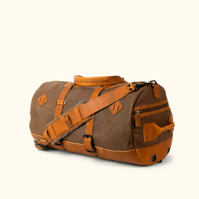 Classic Waxed Canvas Duffle Bag/Backpack | Russet Brown w/ Saddle Tan Leather