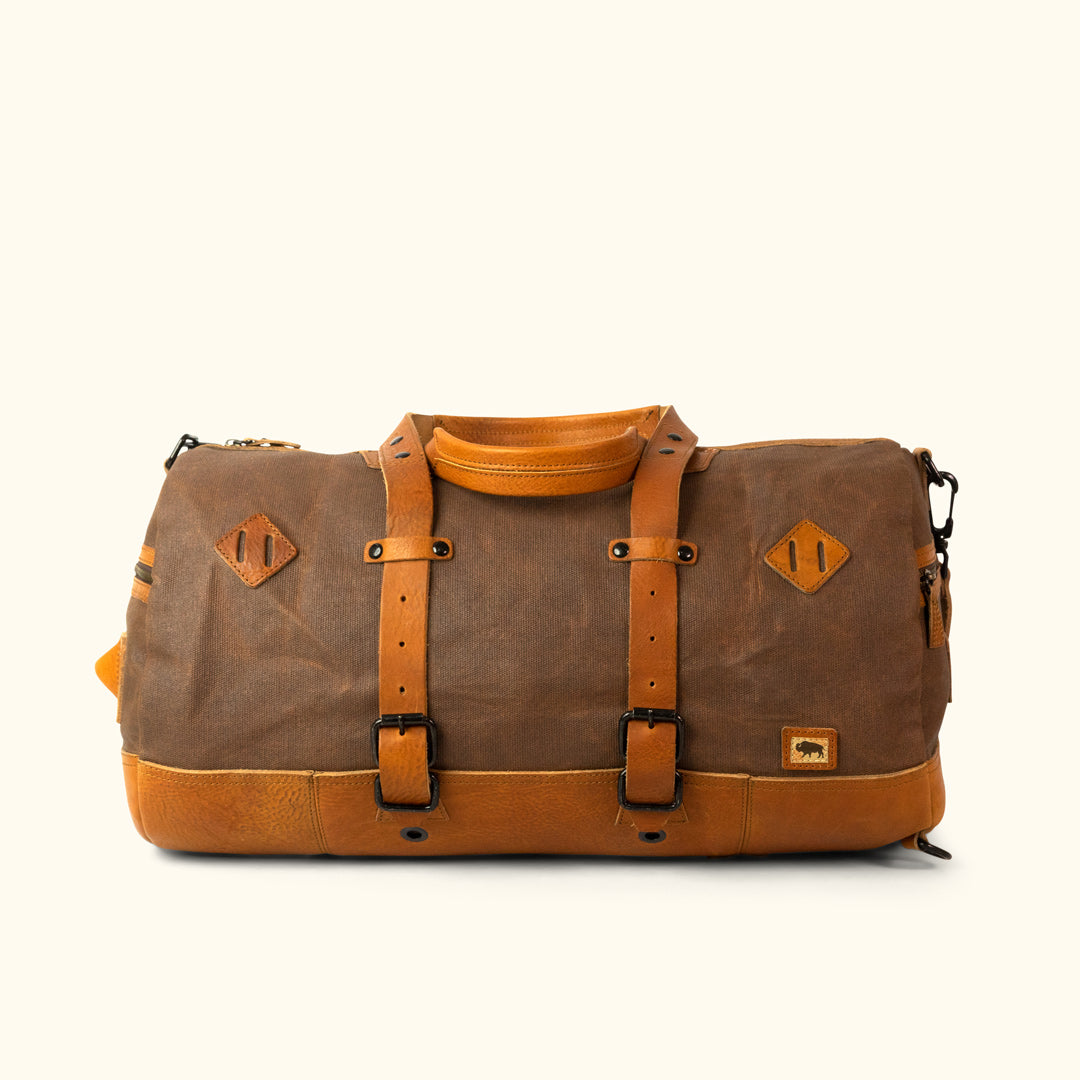 63d9a443f7 Vintage Military Duffle Backpack Bag - Waxed Canvas - Tan