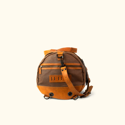 Waxed Canvas Duffle Bag/Backpack Brown Side