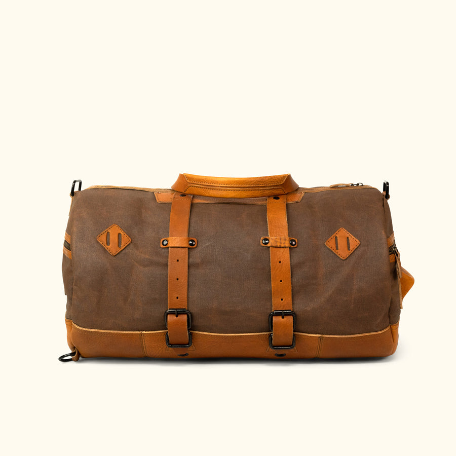 Men's Rugged Waxed Canvas Duffle Bag/Backpack Brown Front