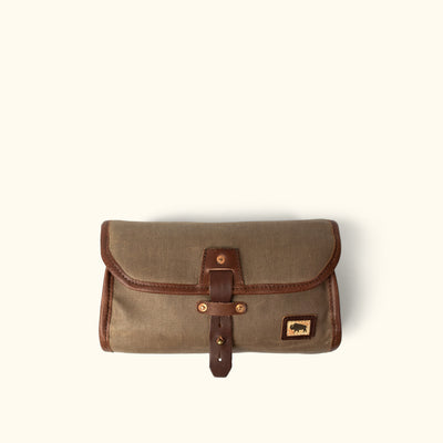 Dakota Waxed Canvas Hanging Toiletry Bag/Dopp Kit | Field Khaki w/ Chestnut Brown Leather