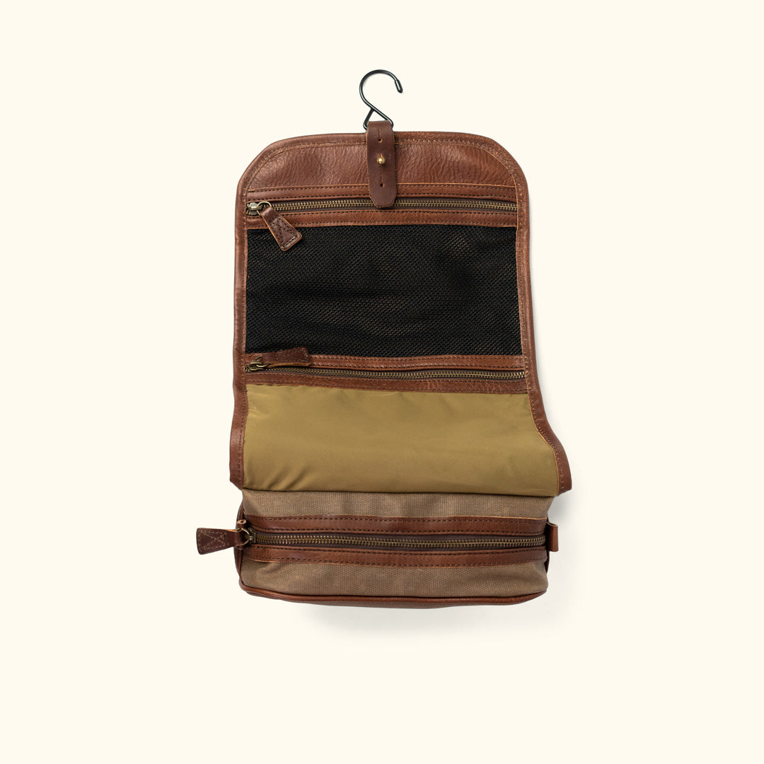 fe0bd165945 Dakota Waxed Canvas Hanging Toiletry Bag Dopp Kit   Field Khaki w  Chestnut  Brown
