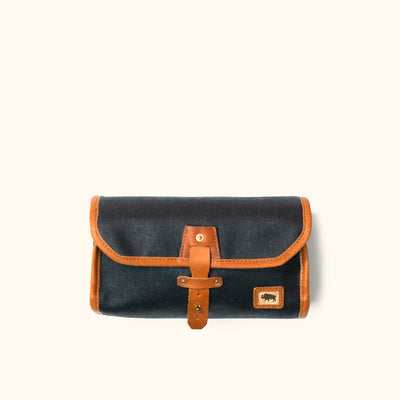 Dakota Waxed Canvas Hanging Toiletry Bag/Dopp Kit | Navy Charcoal w/ Saddle Tan Leather