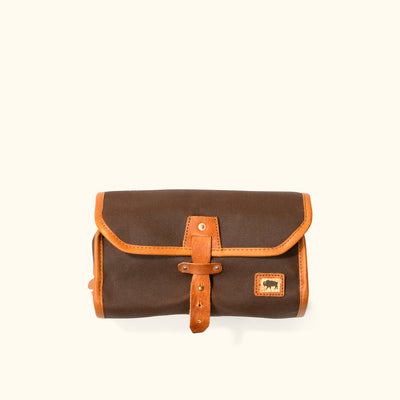 Dakota Waxed Canvas Hanging Toiletry Bag/Dopp Kit | Russet Brown w/ Saddle Tan Leather