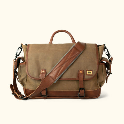 Men's Vintage Waxed Canvas Messenger Bag Khaki Front