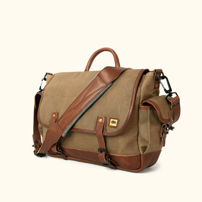 Vintage Canvas Messenger Bag Khaki turned