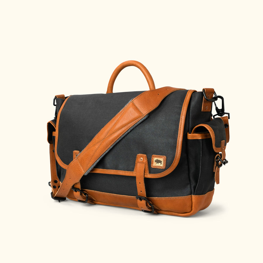 Men's Modern Canvas Messenger Bag | Navy Charcoal w/ Saddle Tan Leather