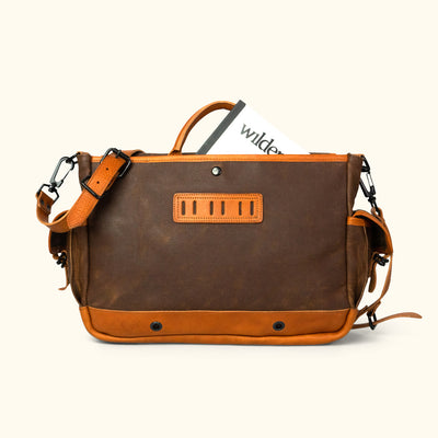 Men's Simple Waxed Canvas Messenger Bag | Russet Brown w/ Saddle Tan Leather