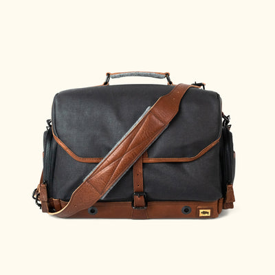 Dakota Waxed Canvas Messenger Camera Bag | Navy Charcoal w/ Chestnut Brown Leather
