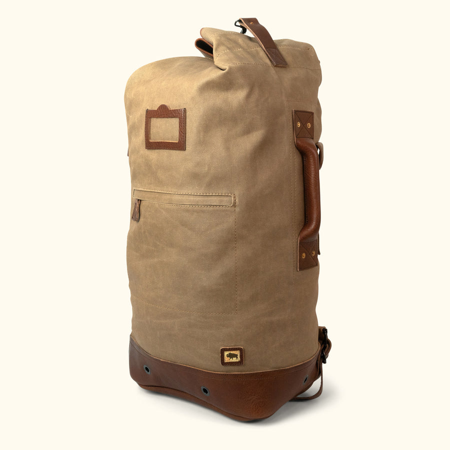 Men's Vintage Canvas Military Sea Bag Backpack | Field Khaki w/ Chestnut Brown Leather