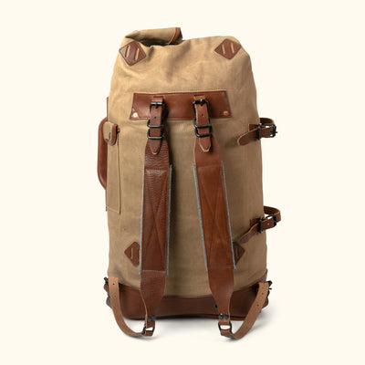 Men's Waxed Canvas Military Sea Bag Backpack | Field Khaki w/ Chestnut Brown Leather