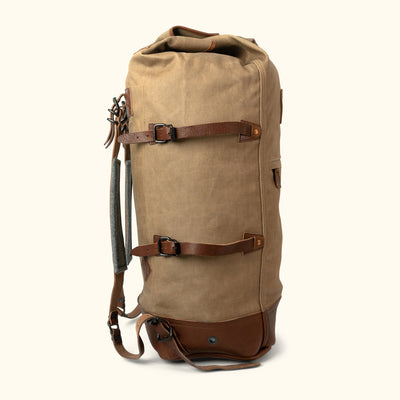 Heavy Duty Canvas Military Sea Bag Backpack | Field Khaki w/ Chestnut Brown Leather
