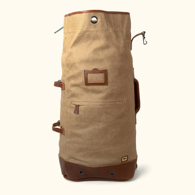 Modern Waxed Canvas Military Sea Bag Backpack | Field Khaki w/ Chestnut Brown Leather