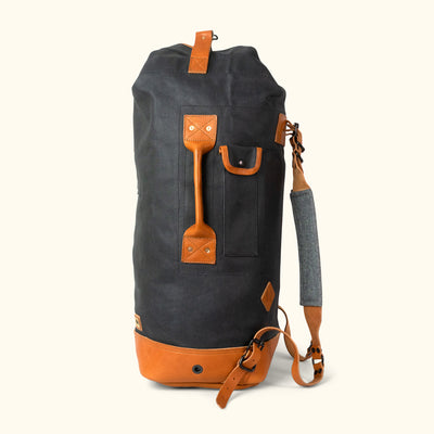 Dakota Waxed Canvas Military Sea Bag Backpack | Navy Charcoal w/ Saddle Tan Leather