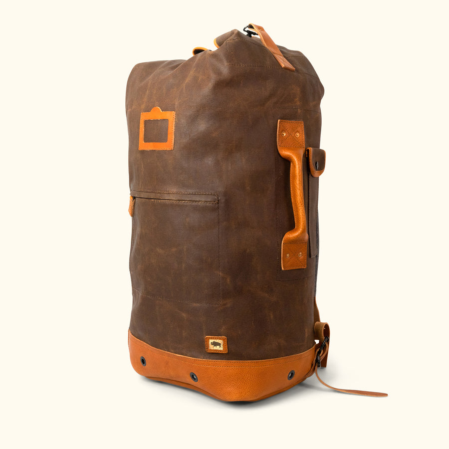 Dakota Waxed Canvas Military Sea Bag Backpack | Russet Brown w/ Saddle Tan Leather