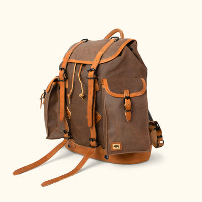 Rugged Outdoor Canvas Rucksack | Russet Brown w/ Saddle Tan Leather