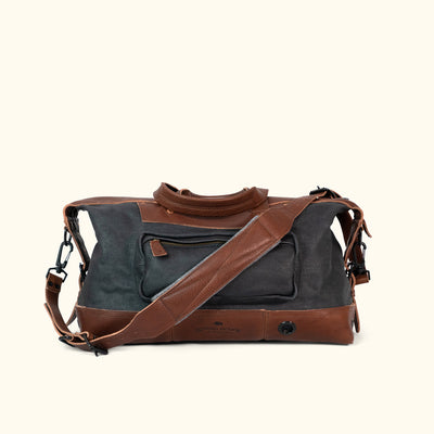 Rugged Waxed Canvas Weekend Bag Navy Back