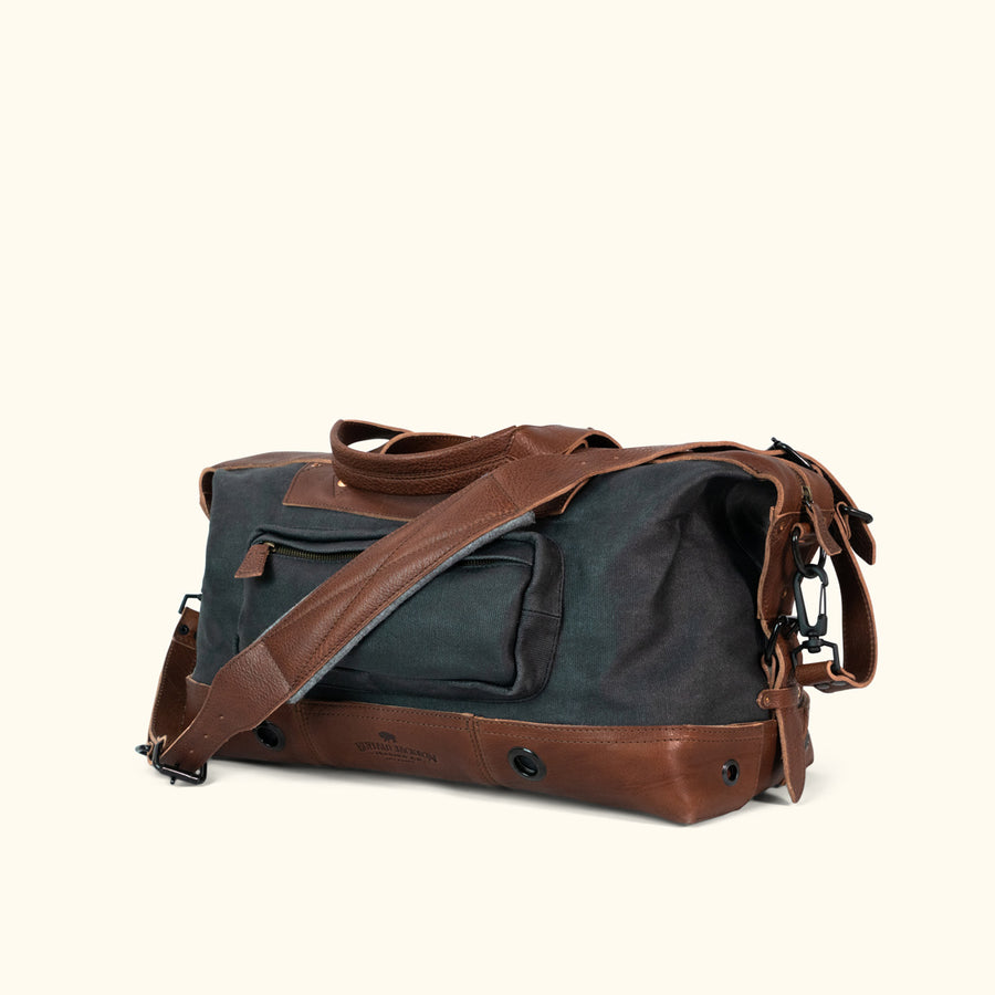 Dakota Waxed Canvas Weekend Bag | Navy Charcoal w/ Chestnut Brown Leather