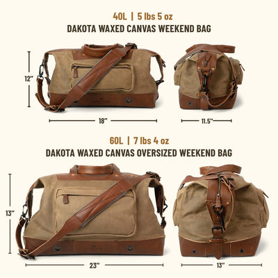 Dakota Waxed Canvas Weekend Bag | Field Khaki w/ Chestnut Brown Leather