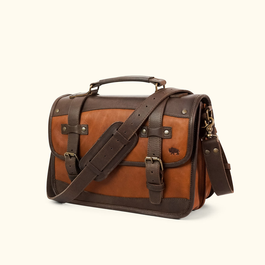 Men's classic Leather Belted Briefcase light brown front