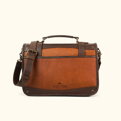 Men's vintage Leather Briefcase brown back