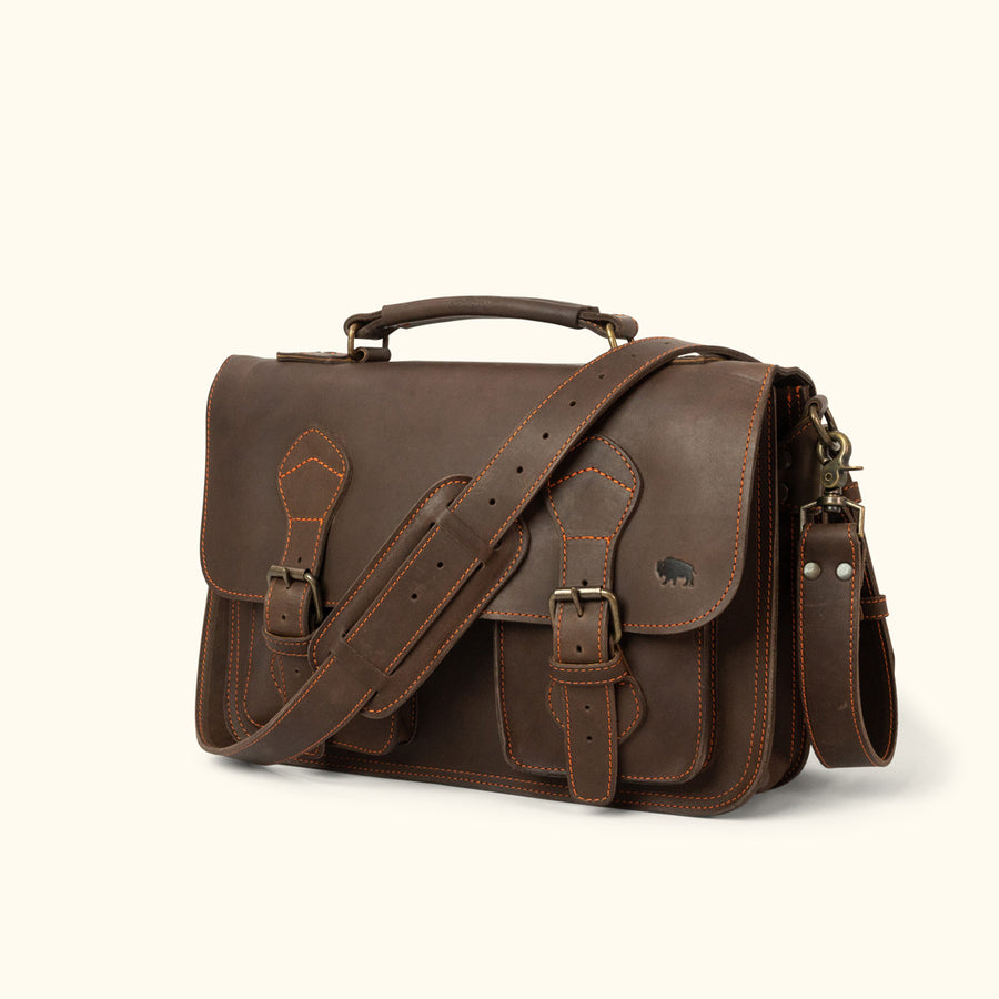 Denver Leather Briefcase | Limited Edition - Dark Briar w/ Orange Stitching