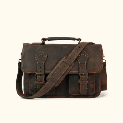 Denver Leather Briefcase | Limited Edition - Dark Walnut w/ Orange Stitching