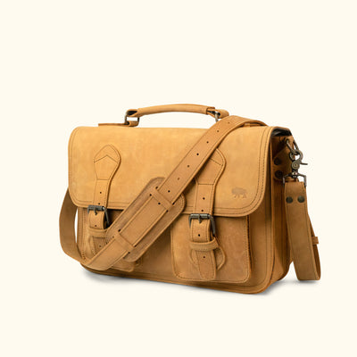 Full Grain Leather Briefcase | Whiskey turned