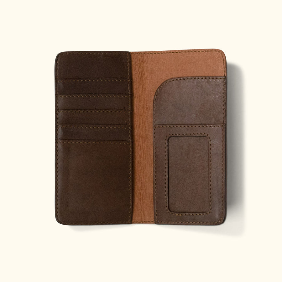 Denver Leather Checkbook Wallet | Dark Briar