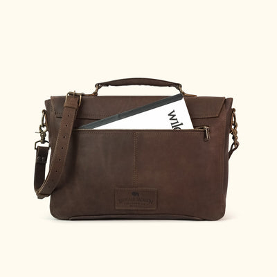Denver Leather Laptop Messenger Bag | Dark Briar
