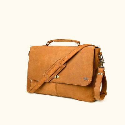 Denver Leather Messenger Bag - Sienna Brown