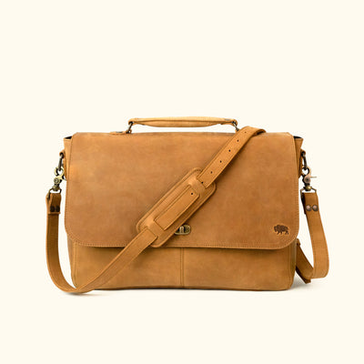 Denver Leather Laptop Messenger Bag | Whiskey